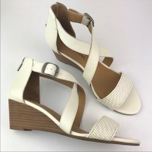 Lucky Brand | Jenley Wedge Sandals Cream Wood 8